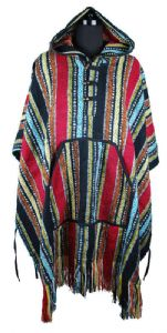 Hippy Poncho  - Hippy Striped Cotton Brushed Poncho - Fair Trade - Folio Gothic Hippy